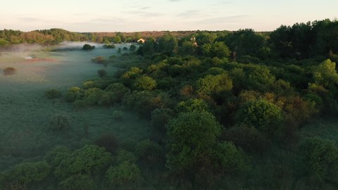 Aerial view of american countryside in the summertime. Sunrise, dawn, misty early morning. North american rural landscape,  nature of Midwest