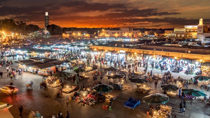 Time lapse of Jamaa el Fna (Jemaa el-Fnaa) in the evening. Marrakesh, Morocco