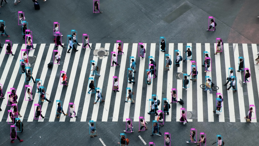 People walk face recognition technology concept of big data and security in city. Aerial view of pedestrians walk at Shibuya Crossing.  | Shutterstock HD Video #1054240145
