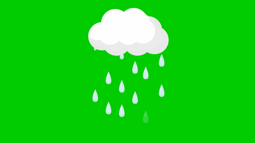 Animated drops of rain from cloud. Looped video. It's raining. Vector illustration isolated on green background.