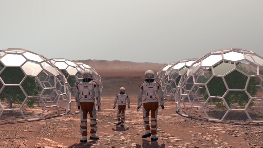 Family colonists immigrants to Mars, a man, a woman and a child admire the Martian landscape, the city and the spaceship. Exploring mission to mars. Elements of this video furnished by NASA. Royalty-Free Stock Footage #1054253447