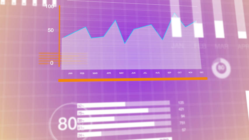 3D animation of graphs and charts over globe map background. Sunny orange pink and purple corporate abstract concept.