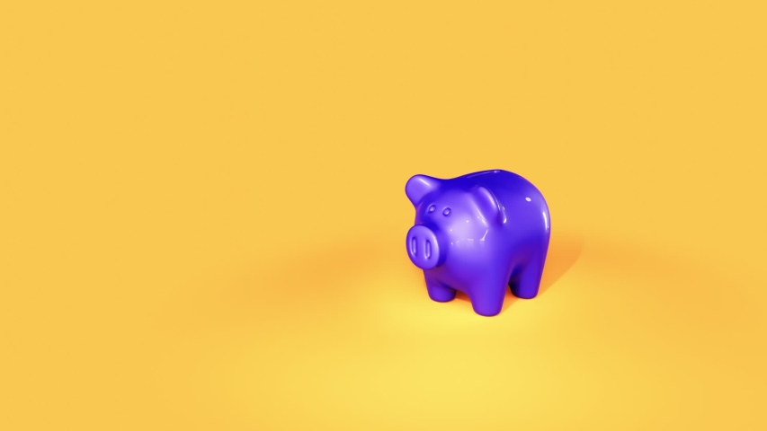 Piggy Bank with falling coins. 3d animation | Shutterstock HD Video #1054269581