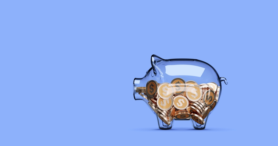 Glass piggy bank stuffed with growing coins. Stop motion animation. 3d rendering | Shutterstock HD Video #1054269584