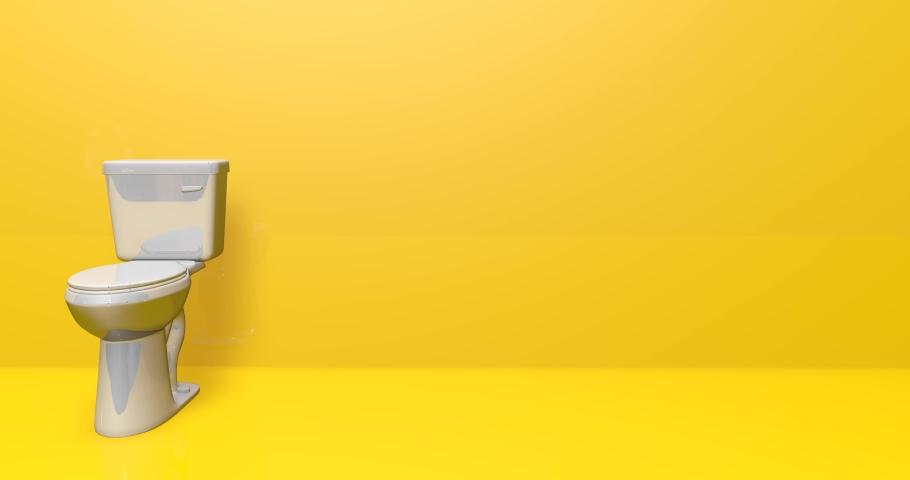 Toilet bathroom wc bathroom sanitary bathroom toilet ceramic wc ceramic sanitary ceramic toilet water closet wc closet sanitary water closet toilet animation wc sanitary animation 3d yellow background | Shutterstock HD Video #1054274006