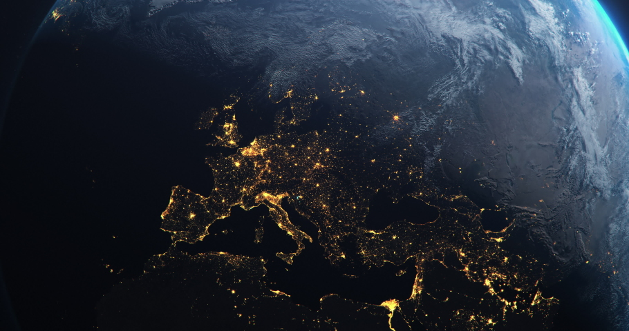 Planet Earth from Space European Union Countries highlighted teal glow, 2020 political borders and counties, city lights, animation 3d illustration | Shutterstock HD Video #1054274360