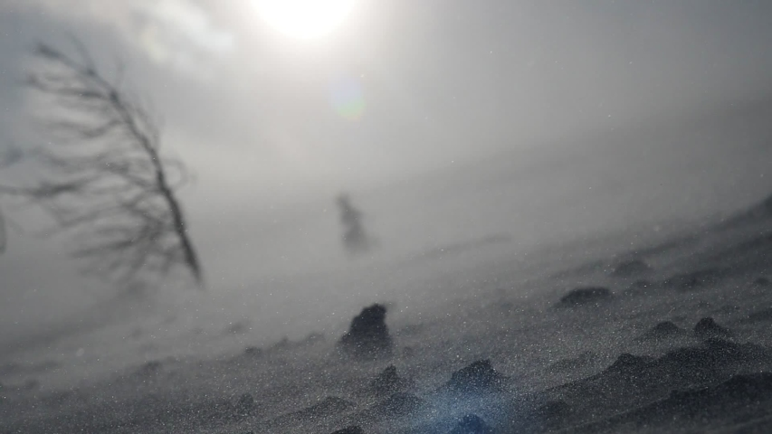 Snow storm in mountains, epic strong wind in polar region in winter, arctic weather. blowing wind and powder snow, wintertime. beautiful nature background, strong wind, ecology, snow winter