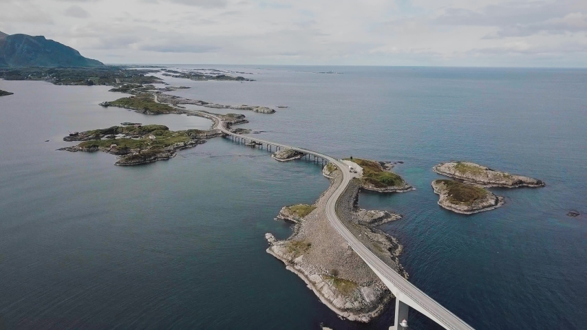 Atlantic Ocean Road in Norway, view from the drone.