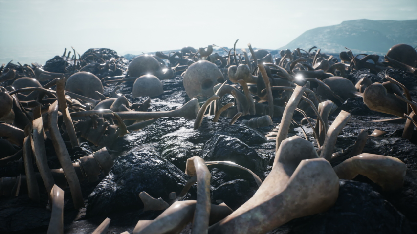 Human bones and skulls scattered on the field of the past battle. The concept of war and the Apocalypse. Royalty-Free Stock Footage #1054282103