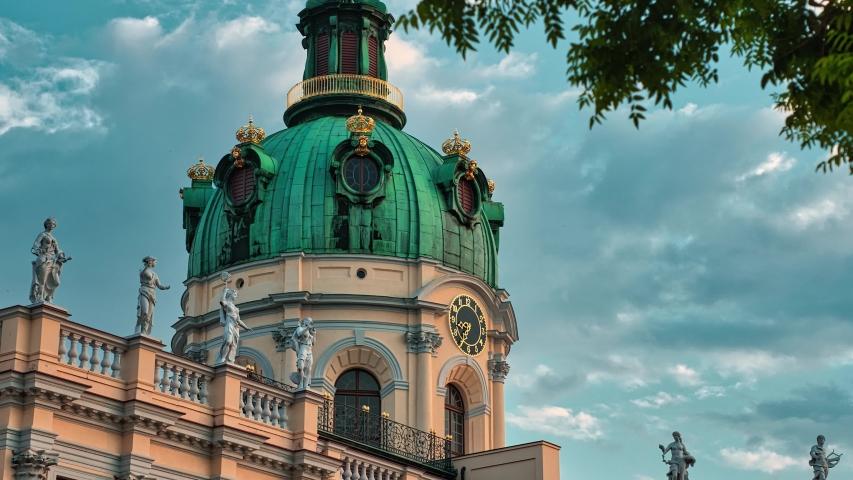 Timelapse / Hyperlapse 4k Schloss Charlottenburg Berlin Germany with great clouds in background   Shutterstock HD Video #1054282628