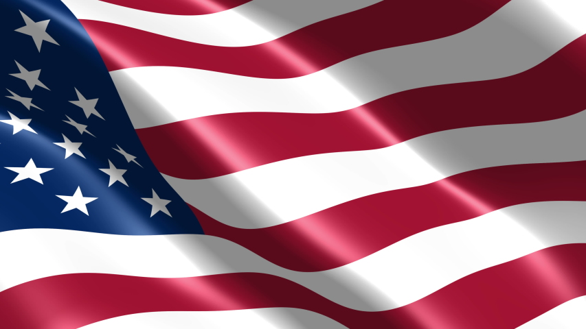 American flag seamless closeup waving animation. Wonderful shiny flag. Sign of USA, United States of America. US Background. 3D render, 4k resolution 3840x2160, 60fps