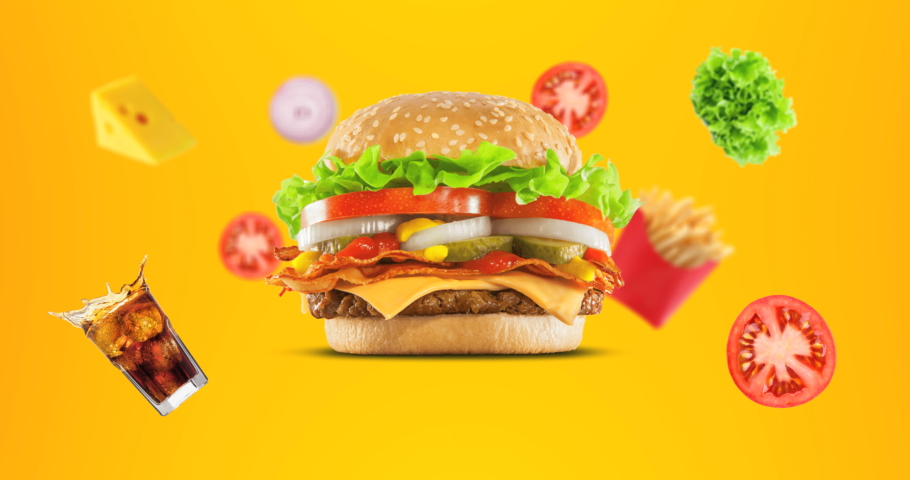 4K Hamburger with Ingredients animation on yellow background.Fast food menu promo opener.