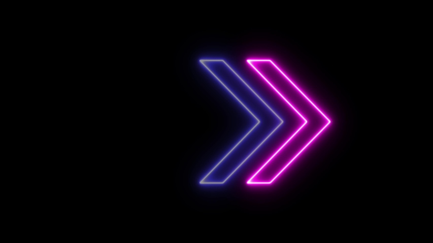 Neon sign Arrows Animation of pink light signal and blue spreading from the center with a black background. Can be used to compose various media such as news, presentations, online media, social media | Shutterstock HD Video #1054287683