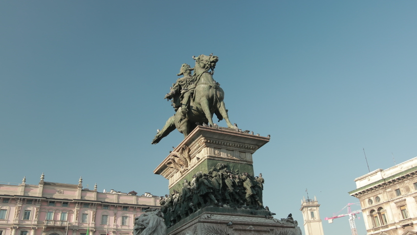 Statua Di Vittorio Emanuele Ii Cavallo In The Piazza Del Duomo Milano. Statue Of First King Of United Italy Who Ruled From 1861 To Death In 1878. Pigeons Fly | Shutterstock HD Video #1054288325