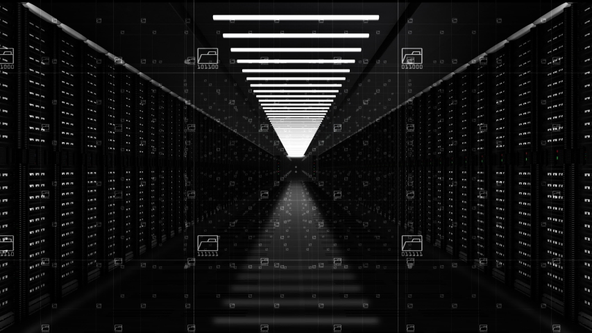 Digital data network servers in a server room of a data center or ISP with Electric circuit high speed data transfer, Moving the camera forward, 4K high quality animation. | Shutterstock HD Video #1054288661