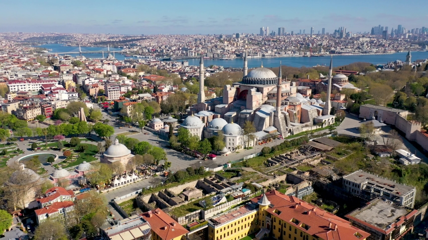 Ayasofya, Hagia Sophia Aerial View with Drone from Istanbul. | Shutterstock HD Video #1054289441