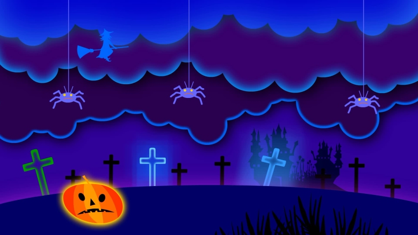 Halloween animation, scary pumpkin, haunted castle, shining stars,  and flying ghosts.