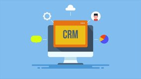 Customer relationship management, CRM software application conceptual animation video clip.