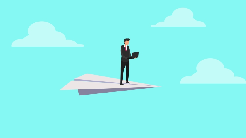 Animated cartoon design of young businessman using a laptop while flying with a paper plane above the clouds. Shot in 4k resolution
