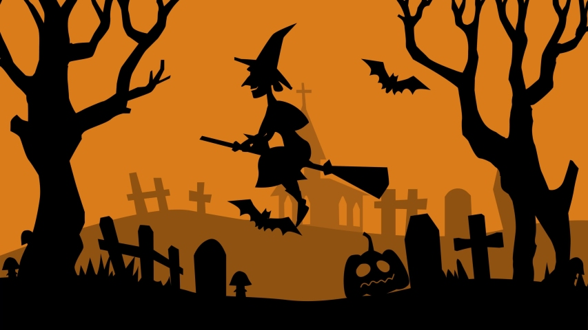 Halloween witch flying on the broom over graveyard with zombie hand and bats