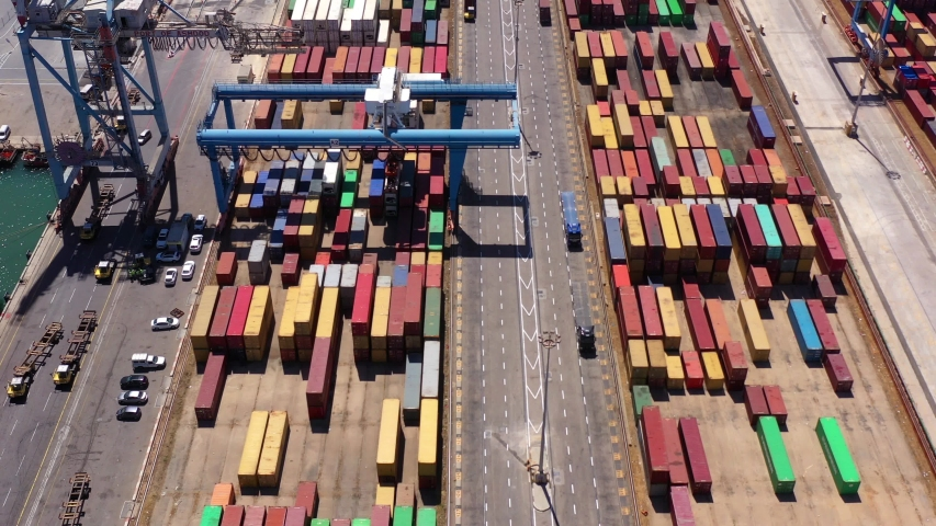 Aerial view over Rows of Shipping Containers  Ashdod Harbor,  Drone view.Ashdod, Israel, June 14, 2020. | Shutterstock HD Video #1054297676