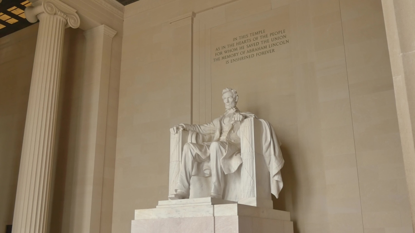 WASHINGTON, DC - NOVEMBER 2016: Dolly shot of Abraham Lincoln statue inside Lincoln Memorial in Washington DC, USA