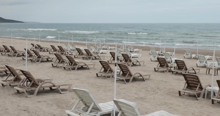 Empty beaches during lockdown because of COVID-19 ( Coronavirus ) pandemic in Istanbul, Turkey. Since the  travelling between the cities is restricted, tourism industry severely affected. Royalty-Free Stock Footage #1054298174