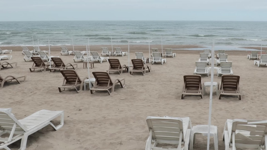 Empty beaches during lockdown because of COVID-19 ( Coronavirus ) pandemic in Istanbul, Turkey. Since the  travelling between the cities is restricted, tourism industry severely affected. Royalty-Free Stock Footage #1054298180