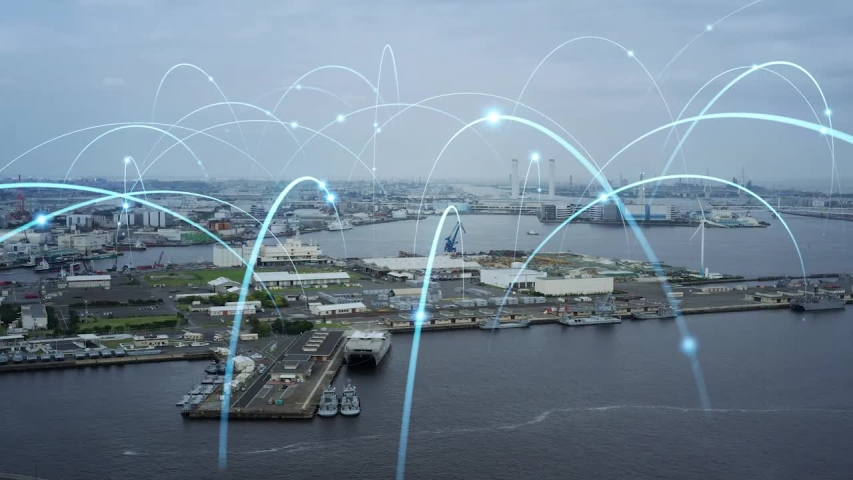 Modern port and ships aerial view and communication network concept. Ship radio. 5G. IoT. Royalty-Free Stock Footage #1054298714