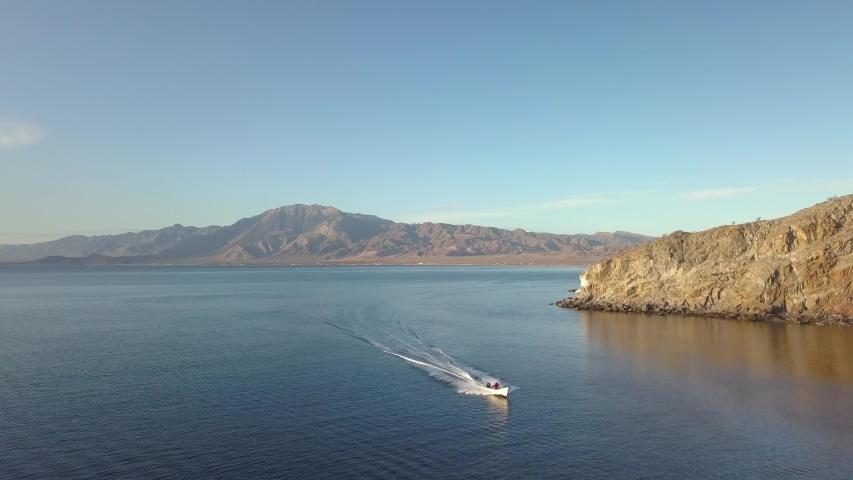 Aerial view of Mexican fishing panga on the Sea of Cortez in Bahia De Los Angeles, Baja California.