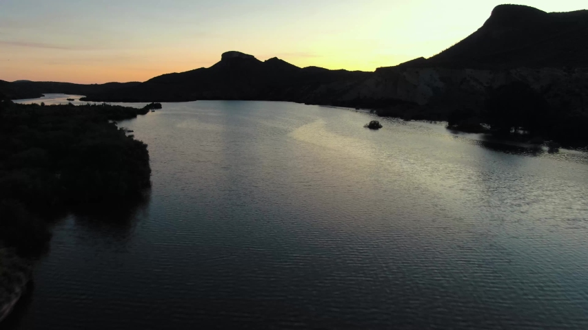 Flying down the Agua Fria during sunset in northern phoenix arizona