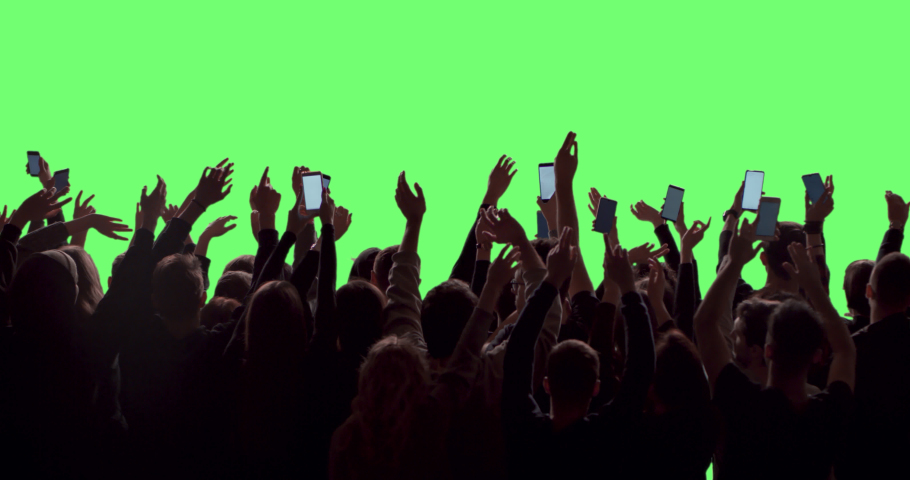 GREEN SCREEN Back view huge crowd of people with phones in hands at live concert or show. Shot on RED Helium 8K, Prores 4444