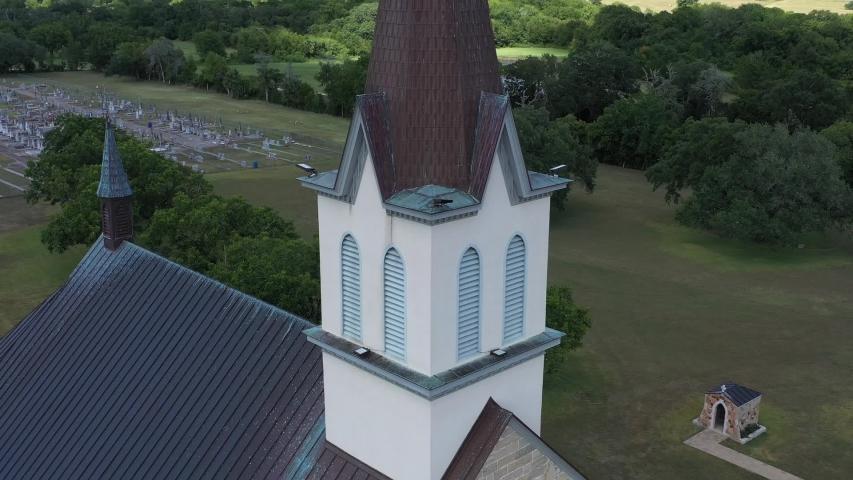 Rural church and graveyard, Praha, Texas, USA