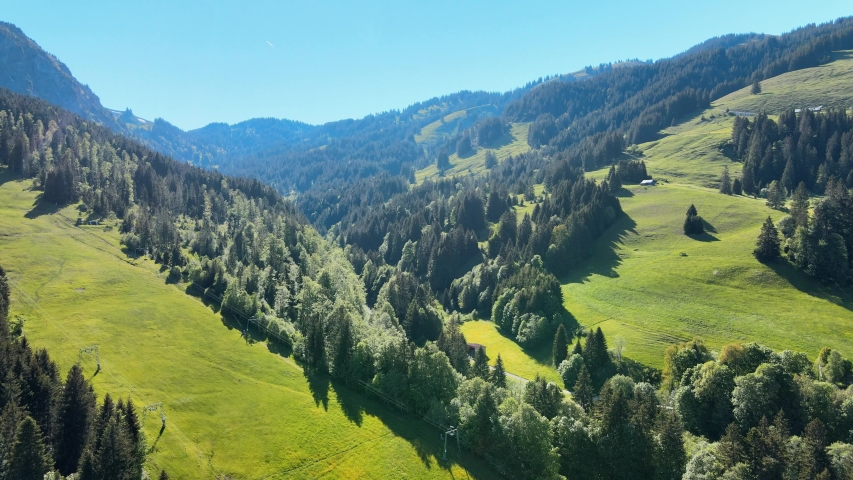 Typical Bavarian landscape in the German Alps - Allgau district - aerial view