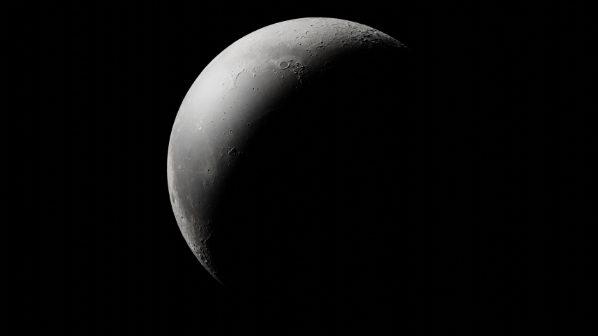 Looping 3D animated timelapse of the phases of the Moon Royalty-Free Stock Footage #1054316843