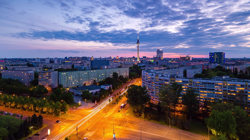 Day to Night Time Lapse of Berlin cityscape with tv tower, Berlin, Germany