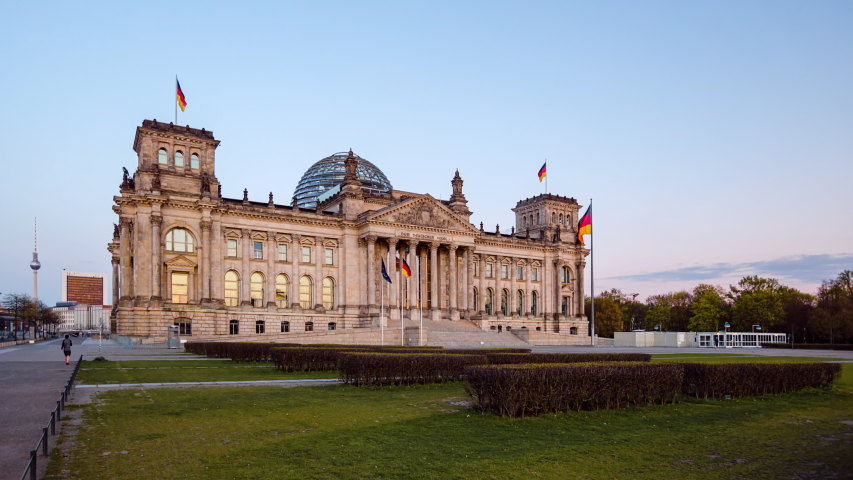 Golden Hour Hyperlapse Time Lapse of Reichstag Building, Berlin, Germany | Shutterstock HD Video #1054317011