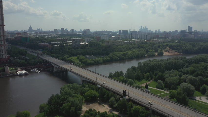Road bridge in Moscow completely empty during a pandemic covid-19 | Shutterstock HD Video #1054317299