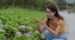 Woman take photo on cellphone in flower field