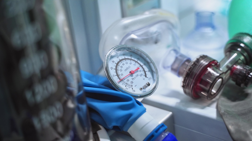 Medical equipment. Work of anaesthesia machine ventilator in the intensive care unit. Close-up. Royalty-Free Stock Footage #1054319759