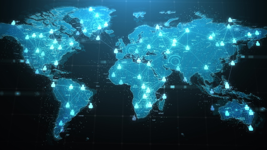 World map with user icon, Global communication concept, Digital technology, Business background, 4k Resolution. | Shutterstock HD Video #1054321136