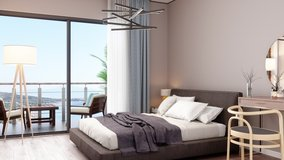3d Rendering of Modern Luxury Bedroom, Makeup Table and Balcony With Sea View