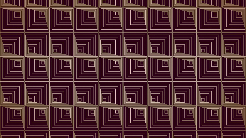 Abstract art deco background loop, creme and wine red square pattern