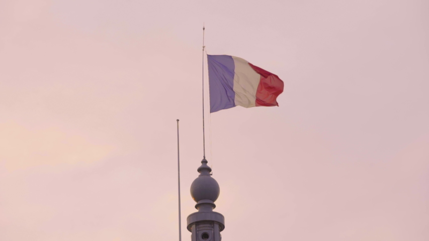 French Flag Drapeau Francais France Grand Palais Sunrise Sunset Coucher Soleil France Tourism | Shutterstock HD Video #1054328387