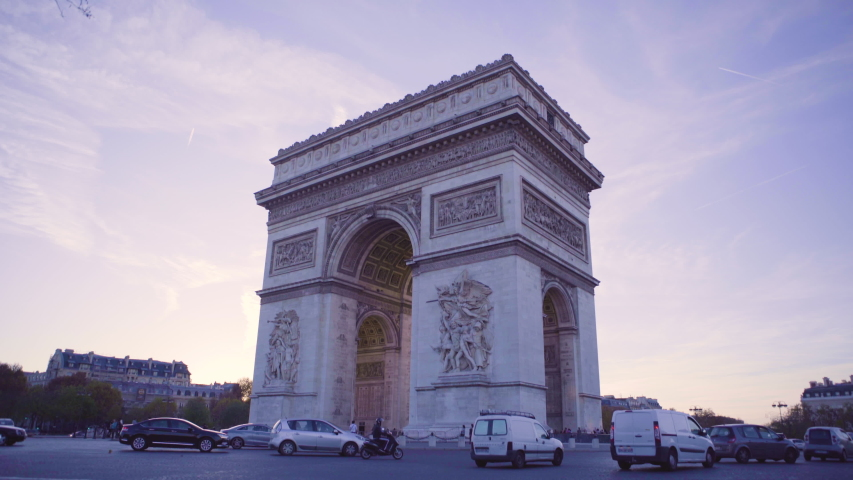 Timelapse Arc de Triomphe Paris Arc of Triumph Sunrise Sunset Coucher Soleil France Tourism | Shutterstock HD Video #1054328390