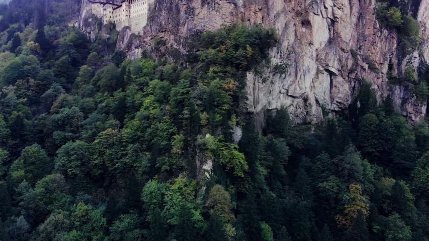 4K, Beautfiul aerial view of Sumela Monastery, Mountain Monastery in Karadeniz - Black sea.