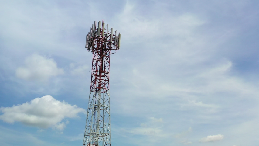 Footage 4k B-roll Aerial drone view of tower antennas Telecommunication cell phone, radio transmitters of cellular 5g 4g mobile and smartphones Royalty-Free Stock Footage #1054332554