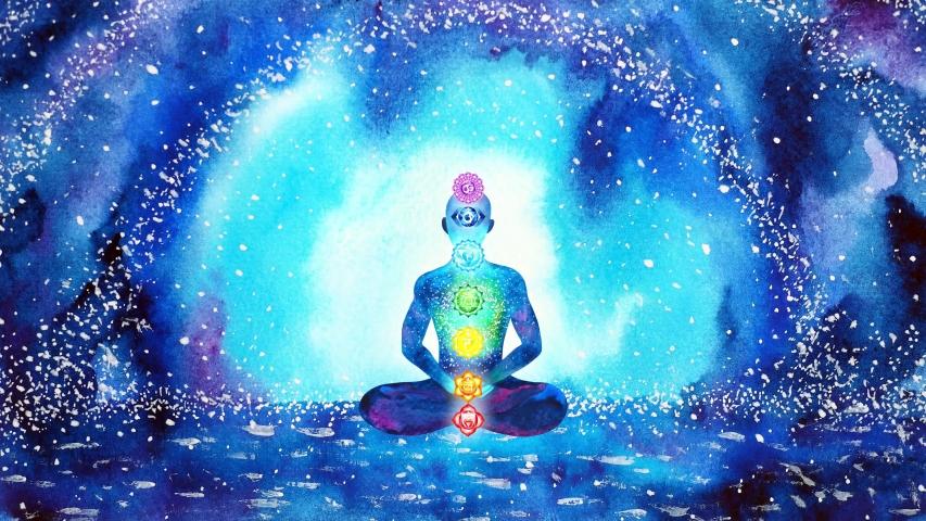 Human meditation chakra mind mental spiritual yoga meditate universe reiki symbol art watercolor painting illustration design stop motion ultra hd 4k   Shutterstock HD Video #1054342082