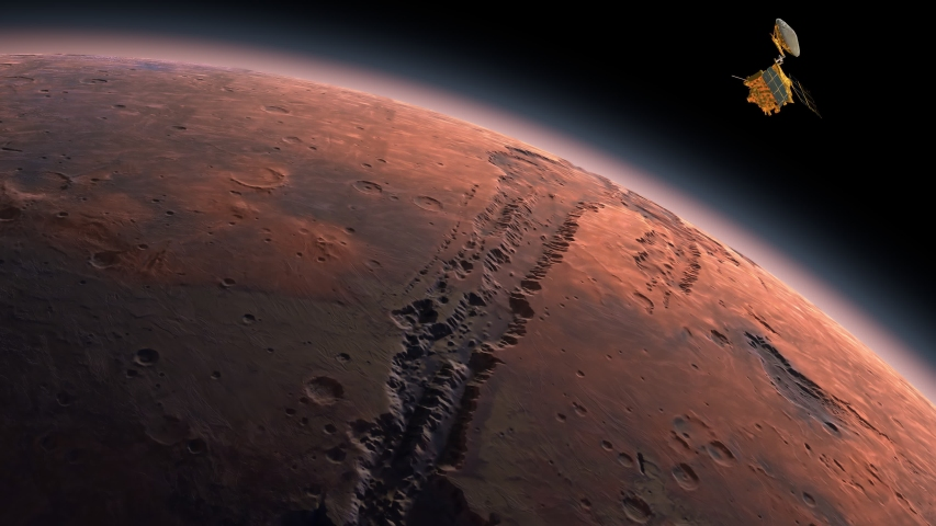 Mars Reconnaissance Orbiter, MRO orbiting Mars. Mars Planet Rotating in the outer space.Traveling to the red planet Mars in space. Elements of this video furnished by NASA. Royalty-Free Stock Footage #1054342484