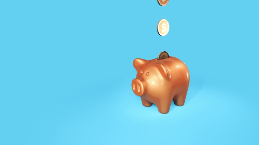 Piggy Bank with falling coins and explosion. 3d animation | Shutterstock HD Video #1054343189